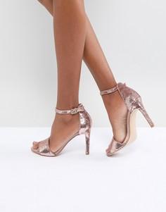 Босоножки на каблуке с отделкой пайетками ALDO Fiolla - Золотой