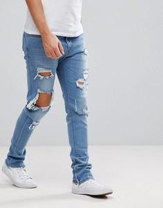 Светлые рваные джинсы Diesel Deepzip - Синий