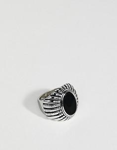 Кольцо с черным ониксом Rebel Heritage - Серебряный
