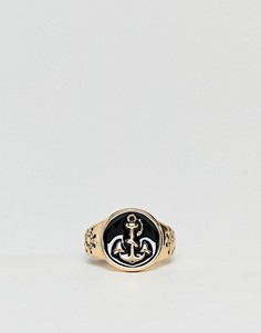 Золотистое кольцо с черной эмалью DesignB эксклюзивно для ASOS - Золотой