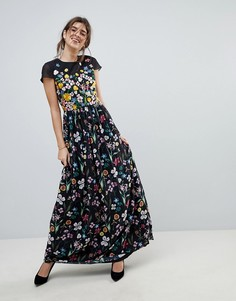 Платье макси с цветочной вышивкой Ted Baker - Черный