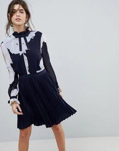 Платье с бантиками на рукавах и принтом Ted Baker - Темно-синий