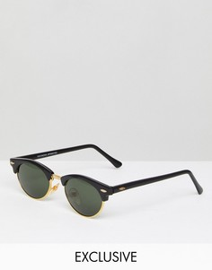 Круглые солнцезащитные очки в черной оправе Reclaimed Vintage - Черный