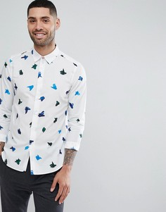 Белая зауженная рубашка с принтом мазков краски PS Paul Smith - Белый