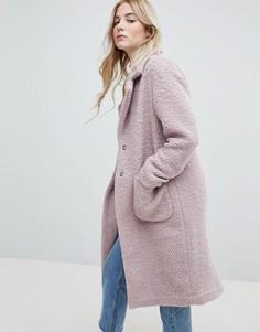 Фактурное пальто миди с добавлением шерсти New Look - Розовый