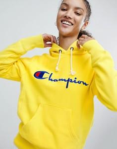 Худи с логотипом на груди Champion - Желтый