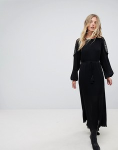 Кружевное платье макси Moon River - Черный