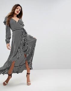 Чайное платье макси в полоску с длинными рукавами и запахом ASOS - Мульти