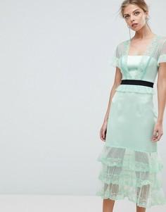 Ярусное платье миди с контрастным поясом Three Floor - Зеленый