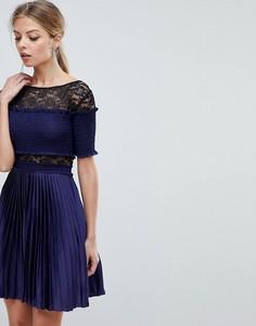 Плиссированное платье мини с кружевными вставками Three Floor - Темно-синий