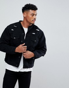 Черная состаренная джинсовая куртка облегающего кроя без воротника SikSilk - Черный