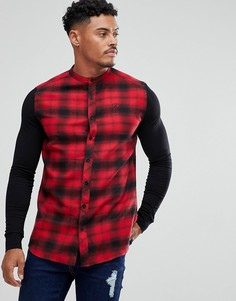 Облегающая рубашка в клетку с трикотажными рукавами SikSilk - Красный
