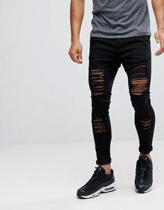Рваные обтягивающие джинсы черного цвета SikSilk - Черный