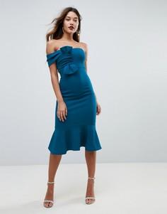 Облегающее платье миди бандо с бантом ASOS - Синий