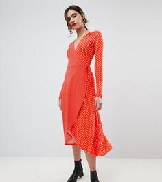 Чайное платье миди в горошек с запахом и длинными рукавами ASOS TALL - Мульти