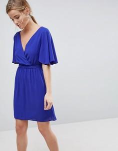 Платье мини с рукавами клеш ASOS - Синий