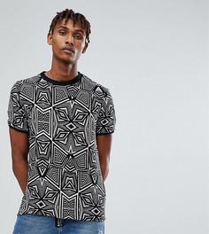 Черная футболка с геометрическим принтом и высоким воротом Reclaimed Vintage Inspired - Черный