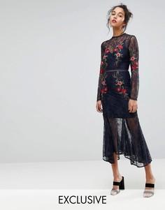 Кружевное платье с вышивкой Keepsake - Темно-синий