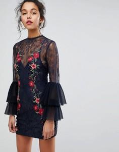 Кружевное платье мини с вышивкой Keepsake - Темно-синий