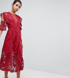 Эксклюзивное кружевное платье миди с цветами Keepsake - Красный