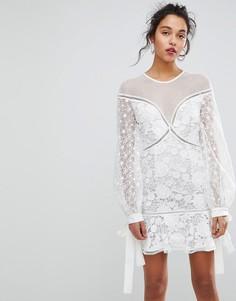 Кружевное платье мини с цветочным рисунком Keepsake - Белый