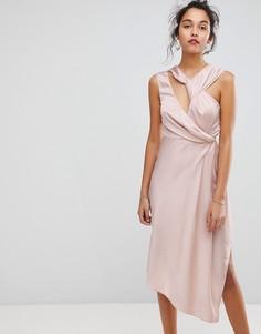 Асимметричное платье миди Keepsake - Розовый