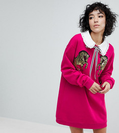 Платье-свитшот с зебрами из пайеток Reclaimed Vintage Inspired - Розовый
