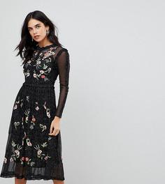 Короткое приталенное премиум-платье из тюля с цветочной вышивкой и отделкой металлик Frock And Frill - Черный