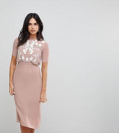 Платье-футляр 2 в 1 с декорированным топом Frock And Frill - Бежевый