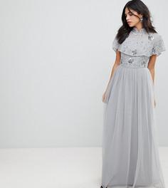 Премиум-платье макси с декорированным топом и высоким воротником Frock And Frill - Серый