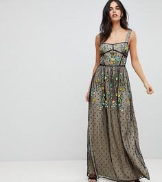 Платье макси с вышивкой Frock And Frill Premium - Черный