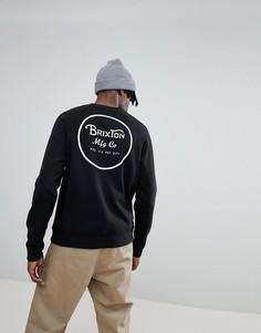 Черный свитшот с принтом на спине Brixton Wheeler - Черный