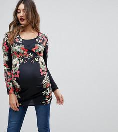 Трикотажный топ с запахом и цветочным принтом Bluebelle Maternity - Черный
