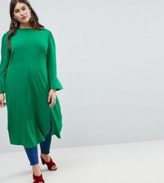 Платье миди с разрезом и рукавами клеш ASOS CURVE - Зеленый