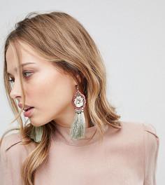 Эффектные серьги с кисточками и цветочным украшением Glamorous - Мульти