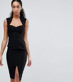 Платье-футляр с вырезом сердечком и разрезом Vesper - Черный