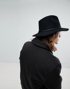 Мягкая фетровая шляпа черного цвета Brixton - Черный