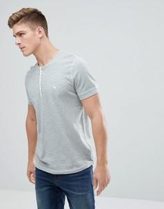 Серая меланжевая футболка хенли с логотипом Abercrombie & Fitch - Серый