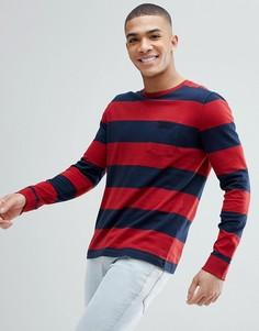 Лонгслив в полоску красного/темно-синего цвета с круглым вырезом и карманом Abercrombie & Fitch - Красный