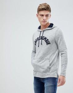 Худи серого цвета с крупным бархатистым логотипом Abercrombie & Fitch - Серый