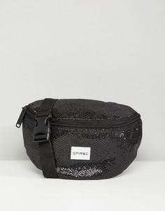 Черная сумка-кошелек на пояс Spiral Glamour - Черный