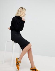 Фактурная юбка-карандаш New Look - Черный