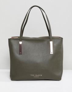 Мягкая кожаная сумка-тоут Ted Baker - Зеленый