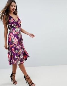 Бархатное платье миди с запахом и цветочным принтом ASOS - Мульти