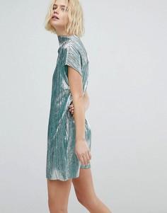 Плиссированное платье Weekday - Зеленый