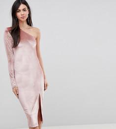 Бархатное платье миди на одно плечо с блестками Flounce London Tall - Мульти