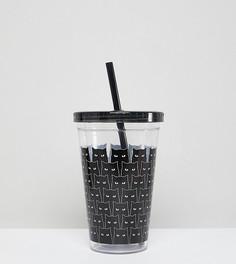 Пластиковый стакан с принтом котов и соломинкой Monki - Очистить