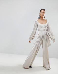Комбинезон с широкими штанинами Stylemafia Talara - Бежевый