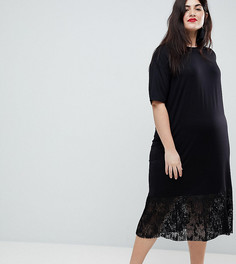 Платье-футболка миди с кружевным низом ASOS CURVE - Черный