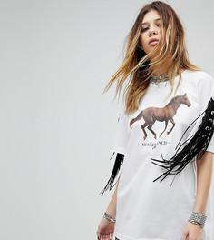 Футболка с принтом лошади и бахромой Milk It Vintage - Белый